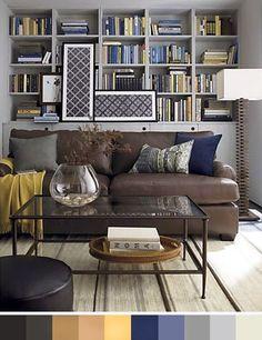 Sofa chocolate y paleta de color gris, amarillo y azul