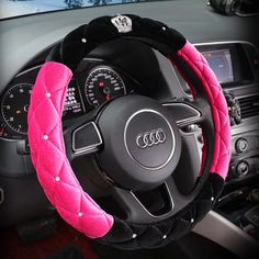 $20.65 Winter Steering Wheel Crystal Crown Auto Fur Cases For Women Girls Car styling - Black Rose, No stimulation, Non-Slip, Excellent breathability, pest control, sterilization, anti-static, Easy to clean, no deformation, high wear resistance, Four Seasons General.