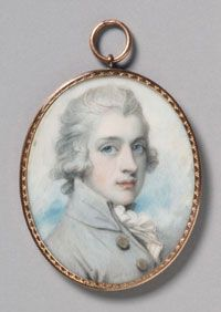 Portrait of a Man in a White Coat, miniature by Richard Cosway. Watercolor on ivory. (1790)