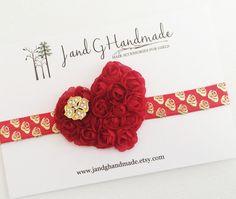 Baby/Child/Girls Red Roses Shabby Heart Headband by JandGhandmade