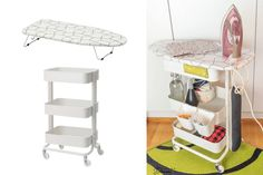 Ironing board on wheels: Your sewing room needs this – IKEA Hackers Before, I had many of the ironing tools here and there and I had to spend time looking for them. Now they're all in my ironing board on wheels with storage. Sewing Room Design, Craft Room Design, My Sewing Room, Ikea Sewing Rooms, Sewing Desk, Ikea Raskog, Raskog Cart, Sewing Room Organization, Craft Room Storage