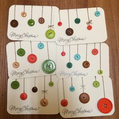 Diy christmas cards simple button ornaments 40 New Ideas Homemade Christmas Cards, Merry Christmas Card, Christmas Greeting Cards, Christmas Greetings, Handmade Christmas, Button Christmas Cards, Noel Christmas, Simple Christmas Cards, Christmas Baubles
