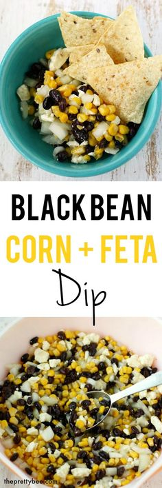 Black bean, corn, and feta dip is the perfect party appetizer!