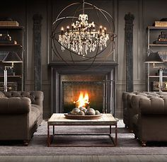 Steampunk Interior Design Inspiration Design 16 Spaces Featuring The Steampunk Interior Trend Style At Home, Industrial Fireplaces, Industrial Living, Modern Industrial, Industrial Furniture, Industrial Shelving, Living Room Decor, Living Spaces, Living Rooms
