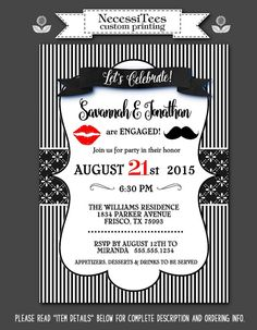 Party Invitations, Invite with Envelope, Engagement Party, Rehearsal Dinner, Bridal Shower, Lips & Mustache, Red and Black Color Scheme