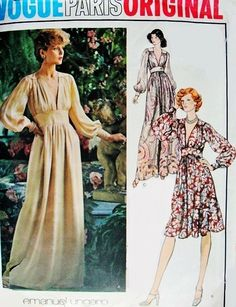 Beautiful Ungaro Evening Dress Pattern American Hustle Very Low Cut Cocktail Party Dress Short or Formal Length, Full Sleeves Vogue Paris Original 1132 Vintage Sewing Pattern Bust 34 Vogue Dress Patterns, Evening Dress Patterns, Dress Making Patterns, Vogue Sewing Patterns, Vintage Sewing Patterns, Clothing Patterns, Fashion Patterns, Pattern Sewing, Clothing Ideas