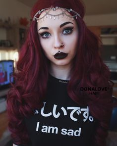 Dark purple wavy waist length wig