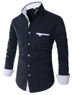 (AL116-NAVY) Mens Casual Slim Fit Button Down Dot Pattern Stretchy Long Sleeve Shirts