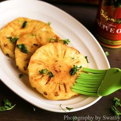 A healthy and delicious pineapple grill made on tawa.