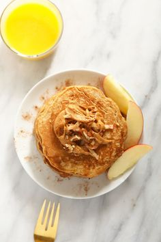 These Whole Grain Apple Cinnamon Pancakes made with whole wheat flour, grated apple, ground cinnamon, and coconut oil. Make a batch of these pancakes for a delicious weekend breakfast. Pancake Toppings, Pancake Stack, Pancake Recipes, Peanut Butter Pancakes, Chocolate Chip Pancakes, Cinnamon Apples, Ground Cinnamon, Lemon Ricotta Pancakes, Healthy Waffles