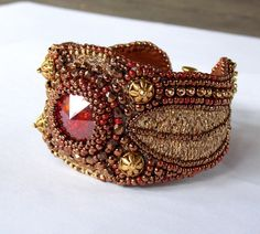 Dolce Vita Bead Embroidery Bracelet  OOAK   Seed bead by Vicus, $120.00