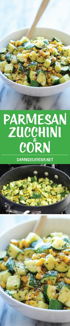 Zucchini and Corn Parmesan Zucchini and Corn - A healthy 10 minute side dish to dress up any meal. It's so simple yet full of flavor!Parmesan Zucchini and Corn - A healthy 10 minute side dish to dress up any meal. It's so simple yet full of flavor! Side Dish Recipes, Vegetable Recipes, Vegetarian Recipes, Cooking Recipes, Healthy Recipes, Cooking Ideas, Healthy Meals, Yummy Recipes, Healthy Food