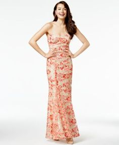 Speechless Juniors' Embroidered Mermaid Gown, A Macy's Exclusive Style $119.00 Delicately embroidered florals are etched throughout the illusion silhouette of this mermaid gown from Speechless.