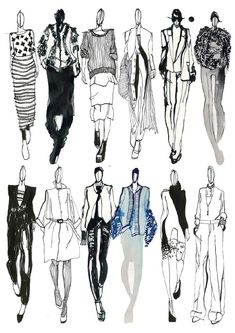 Fashion Sketchbook - fashion sketches; line up; fashion illustrations; fashion portfolio // Mia Jadrna: