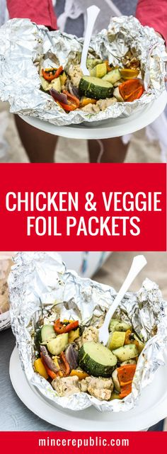 Chicken & Veggie Foil Packets with Pesto recipe | chicken, vegetables and basil pesto in a foil packet — the easiest Summer weeknight meal! | mincerepublic.com