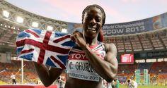 Christine Ohuruogu celebrates second world title at 400 m. in Moscow.