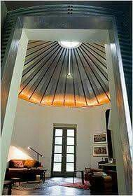Grain bin converted to house.....inside.  Amazing!!