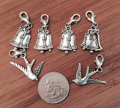6 pcs ~ Wedding Bells & Doves antique silver tone charms ready to hang with lobster clasps by BuildUrBling on Etsy