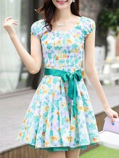 Fancy Round Neck Cotton Floral Printed Assorted Color Skater-dress | fashionmia.com