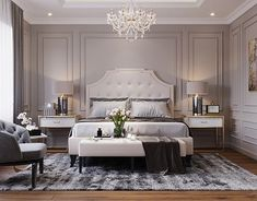 Luxury Grey Bedroom decor cozy bedroom white bed, transitional style Taupe Grey luxury bedroom