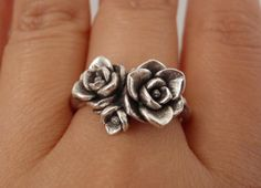 A Bouquet of Magnolias Ring - Ready to Ship (Sizes 7.25 to 7.75) - Handsculpted and Cast in Sterling Silver - SAMPLE SALE