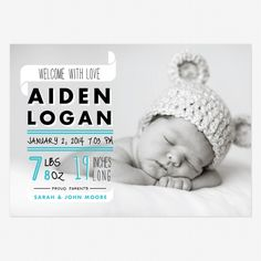 Graphic + Colorful Birth Announcements | Design and Photo Credits: Love vs. Design