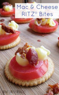The perfect quick snack or appetizer solution from your pantry: Mac & Cheese RITZ® Bites with crumbled Bacon via @MyMessyMiracles. Always a hit and simple to prepare on a base of butter good RITZ® Crackers. Layer a slice of fresh Roma Tomato, spoon on cheesy macaroni noodles and top with real crumbled Bacon bits. Put It On A RITZ® SWEEPS Put It On A RITZ® Sweeps AD