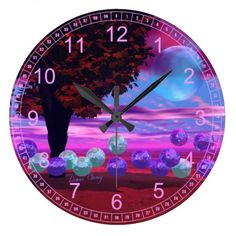 Bubble Garden - Abstract Rose and Azure Wisdom Large Clock  #DianeClancy