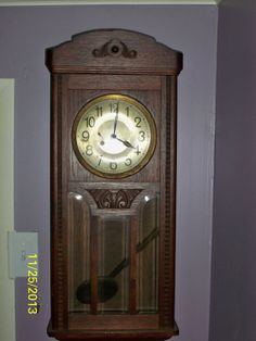 1900s German wall clock made of Oak Goodies you can only find