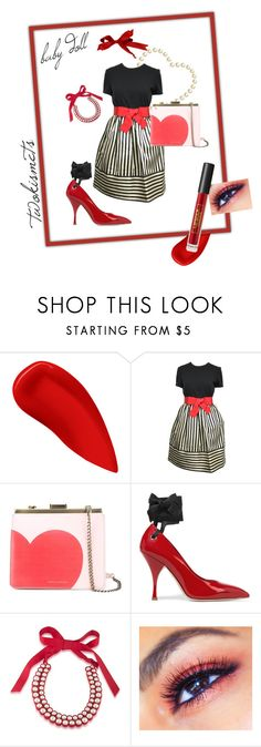 """""""baby doll red"""" by twokismets ❤ liked on Polyvore featuring Lipstick Queen, Bill Blass, Tammy & Benjamin, Miu Miu and 1st & Gorgeous by Carolee"""