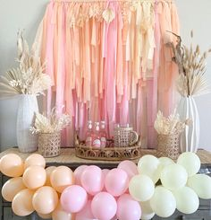 I'm amazed I was able to put this together using only the items I had on hand 🙌🏻 haha. Simple items like dried flowers and a couple of DIYs for the win! I also added a few dried flowers to the top of the streamer backdrop for a pretty boho touch. Streamer Backdrop, Diy Photo Backdrop, Party Streamers, Mini Balloons, Rainbow Balloons, Balloon Garland, Diy Garland, New Years Eve Decorations, Rainbow Parties