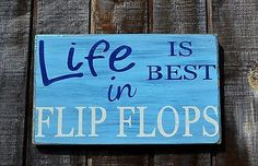 Flip Flops Plaque, Beach Signs, Pool Decor, Life Is Better In Flip Flops, Rustic Home Sign, Gift – Signs Of Love Co.