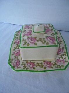 Royal Winton Butter Dish+Cover Grimwades Ivory England SQUARE Pink Roses Green #Grimwades