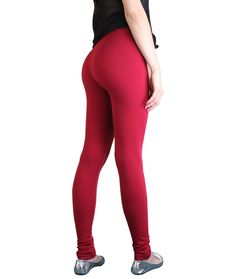 ce4663ab0bb12 Wholesale Women Plain Basic Solid Full Length Leggings Stretch Red Yoga  Pants Red Yoga Pants