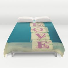 Art bedding. Girly bedding. Blue duvet cover. Queen by Key2MyArt