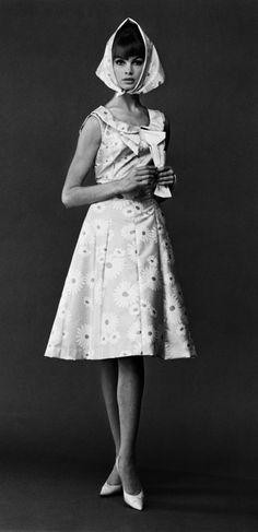 Jean Shrimpton wearing dress and kerchief by John French, (1960s)