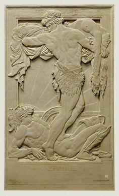 Heracles, Deianira and Nessus, Rayner Hoff, plaster relief sculpture Art Sculpture, Wall Sculptures, Garden Sculptures, Greek Art, Art Deco, Australian Art, Hercules, Les Oeuvres, Creative Art
