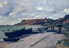 Sainte-Adresse, Fishing Boats on the Shore - Monet Claude
