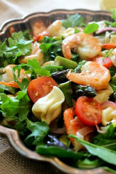 A great dinner salad that is so tasty! Great Pasta Recipes, Great Dinner Recipes, Seafood Recipes, Shrimp And Asparagus, Asparagus Salad, Dinner Salads, Fish And Seafood, Food Dishes, Garlic