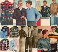 1957 Boys Clothes. The preppy Ivy-league look met popularity in 1957 for boys, but leather jackets, symbol of rebellious youth, were popular as well. Boys and teens could choose from a plethora of cardigans, twill slacks, and collared shirts, all in stripes and checks. (Price range: 1.59 - 20.90)