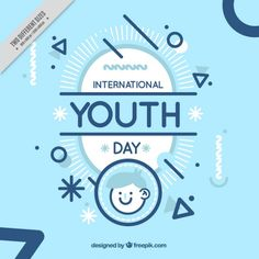 Modern youth day background with geometric shapes Free Vector