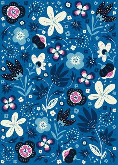 Blue Meadow Art Print by annadeegan Wallpaper Stickers, Wallpaper Backgrounds, Colorful Backgrounds, Cellphone Wallpaper, Iphone Wallpaper, Pattern Art, Print Patterns, Floral Patterns, Floral Prints