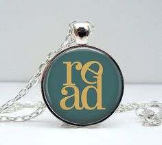 Read Necklace Blue Gold Glass Picture Pendant Photo by Lizabettas