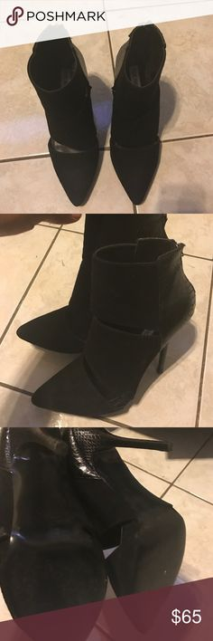 Steve Madden Booties Black suede and leather Steve Madden Boots 4 inch heels in great condition only worn once Steve Madden Shoes Ankle Boots & Booties