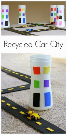 Recycled Car City by funathomewithkids: Create your own amazing car city using recycled items - this whole city cost less than 3 dollars to make! #Kids #Toys #Upcycyle