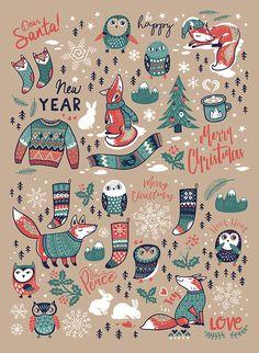 Illustration Noel, Graphic Design Illustration, Illustrations, Merry Christmas, Christmas Time, Animal Doodles, Happy Paintings, Christmas Settings, Christmas Aesthetic