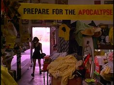 """Rose McGowan in 'the doom generation' """"Prepare for the apocalypse"""" banner"""