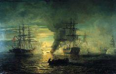 Sjøslag i Lagoa-bukten, Madagaskar, 1799 Johan Jacob Bennetter, 1863 Moonlight Painting, Napoleonic Wars, Tall Ships, Norway, Coastal, Sunrise, Scene, Landscape, World