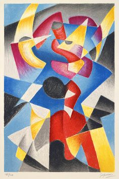 Untitled, (ca. mid 20 century). Gino Severini. Color lithograph on wove paper