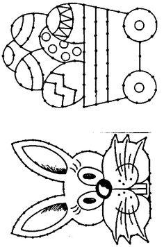 * Borduurkaart: paashaas/kar met eieren
